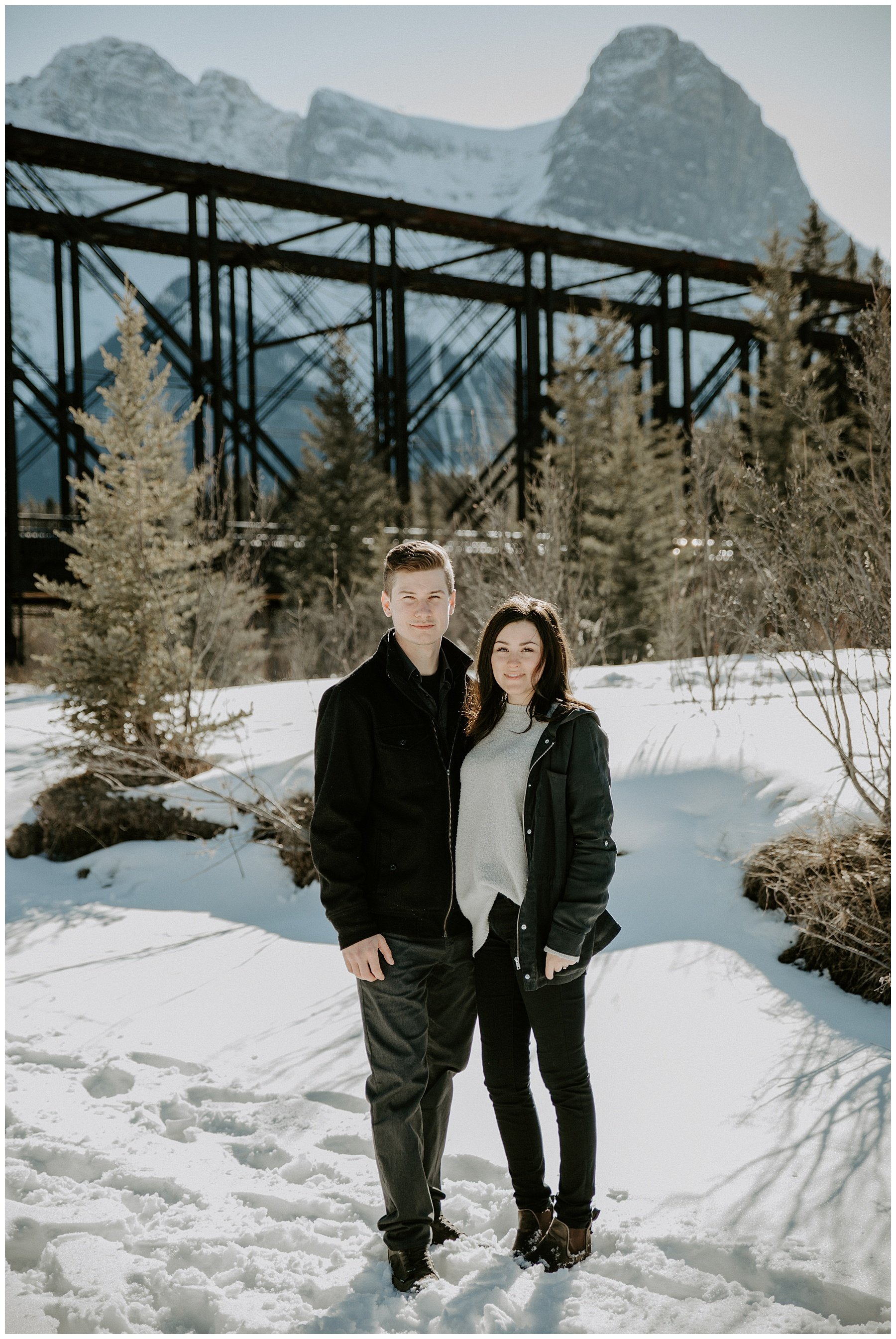 Canmore Old Engine Bridge Engagement Photos