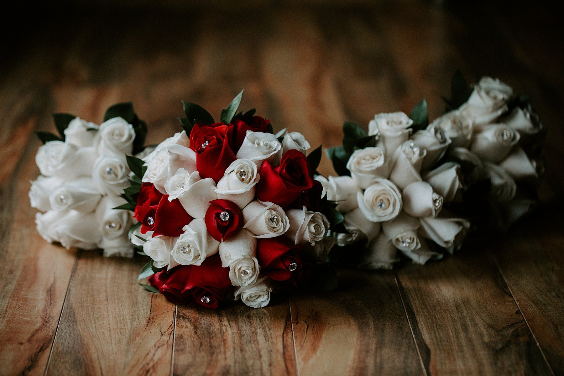 White and red rose wedding bouquet