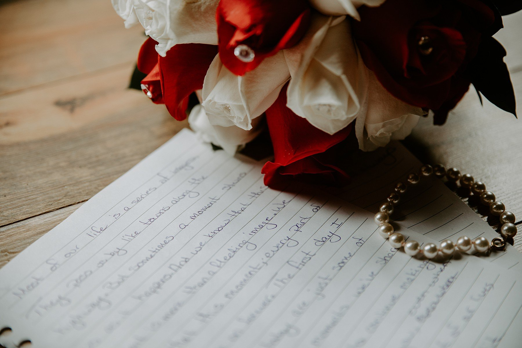 Wedding vows and roses