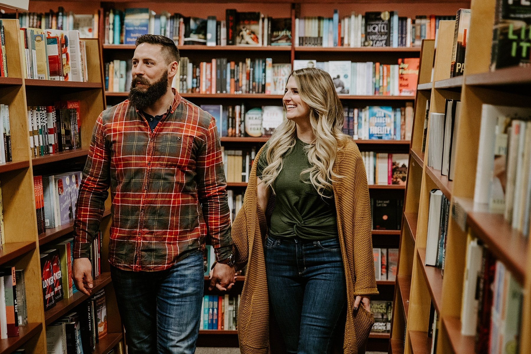 Bookstore engagement photos at Chapters in Edmonton