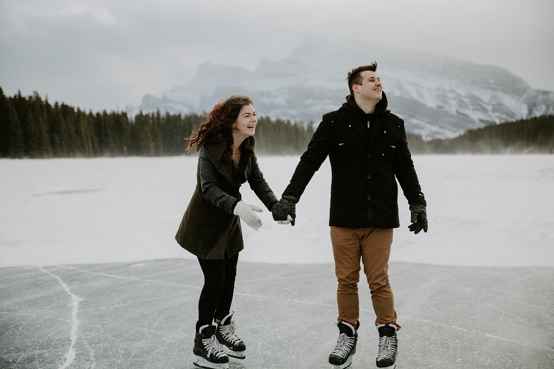 Two Jack Lake Engagement Skating Engagement session
