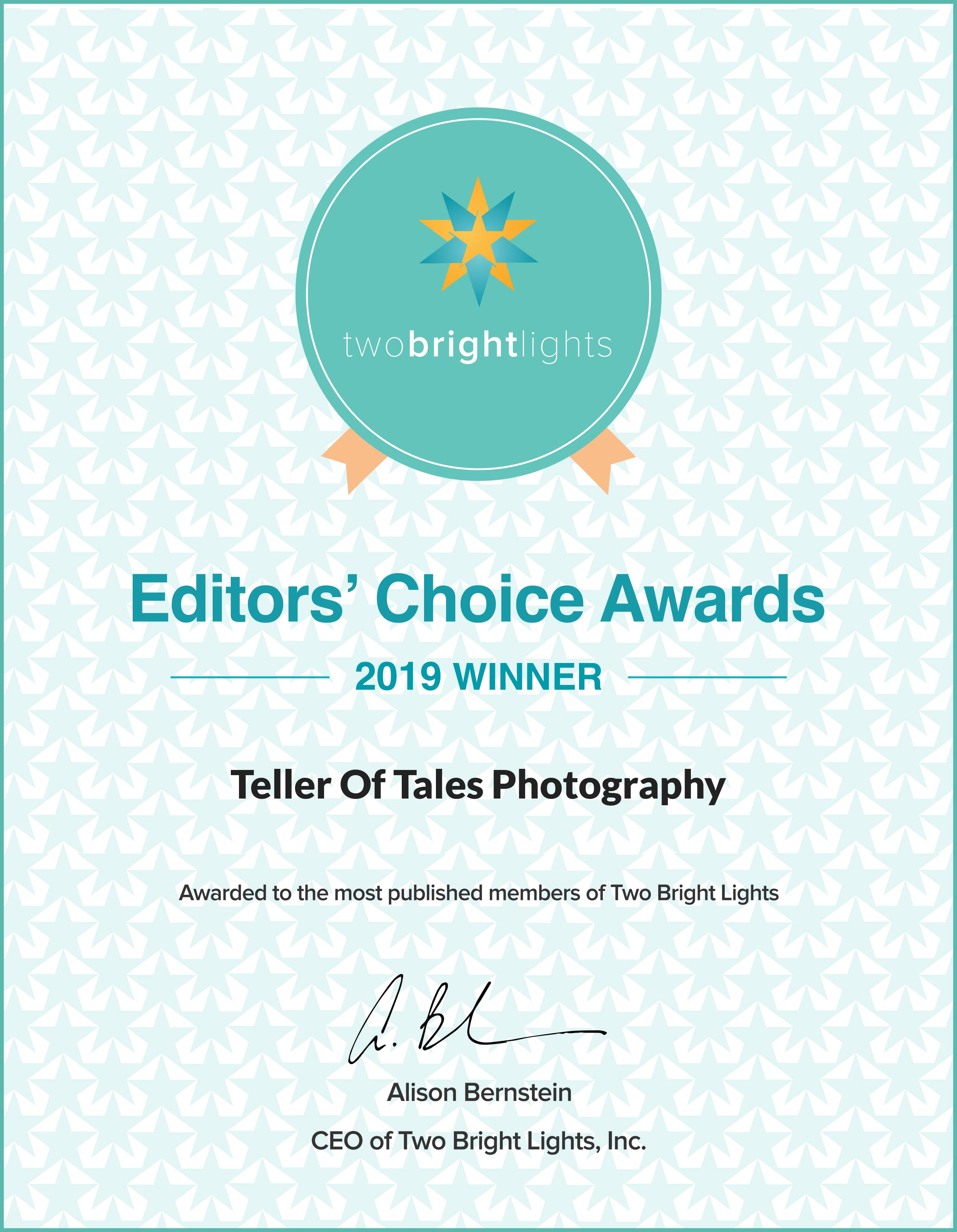 Two Bright Lights 2019 Editors Choice Award