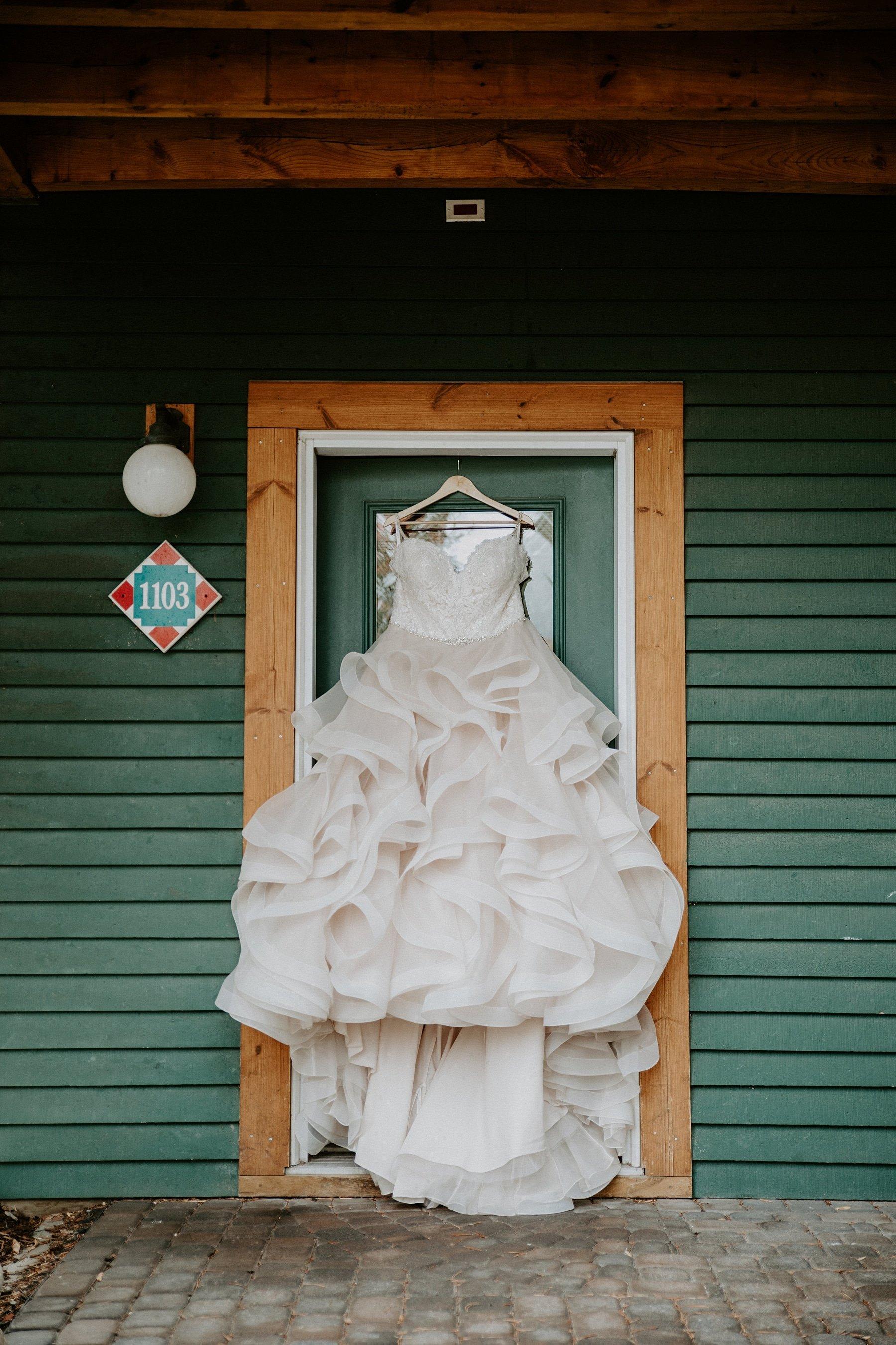 Wedding dress at Buffalo Mountain Lodge
