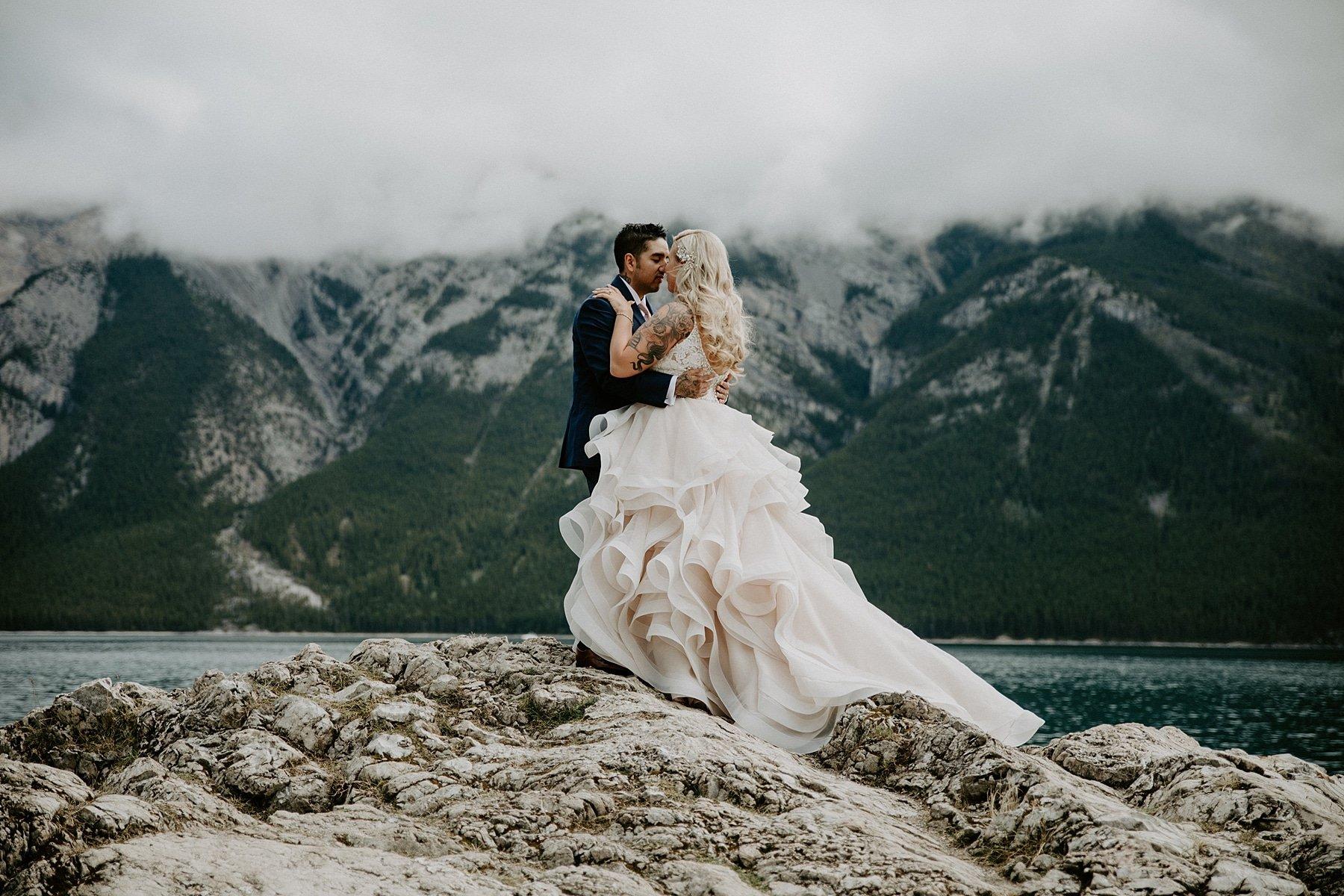 Lake Minnewanka wedding photos in Banff