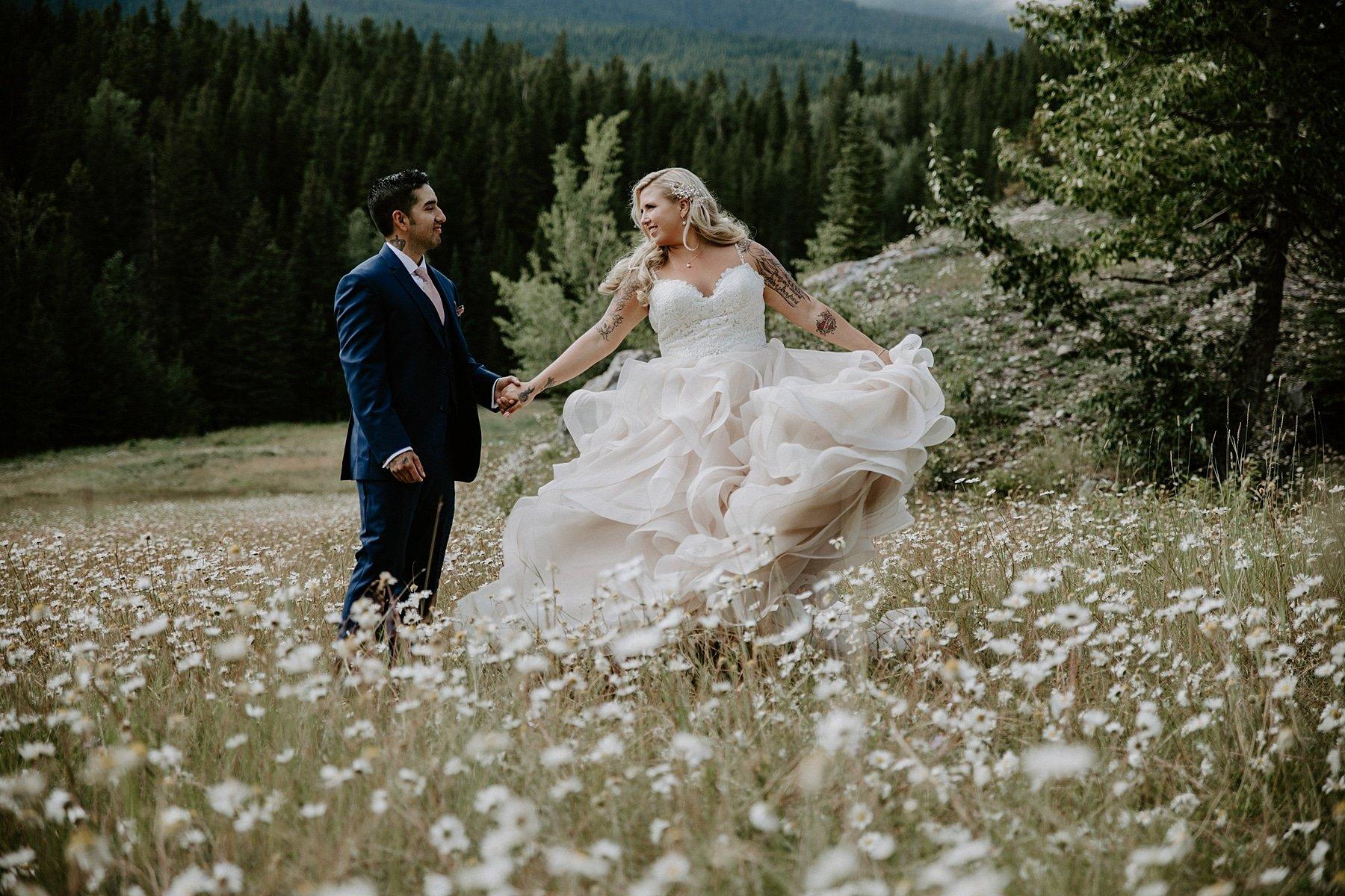 Banff Wedding Photos in wildflowers